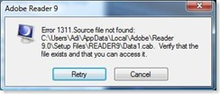 Adobe Reader 9 error
